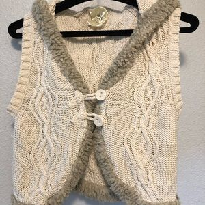 Hooded faux fur knitted vest